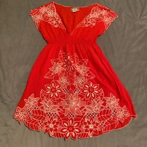 Flying Tomato Red Embroidered Dress EUC Size S